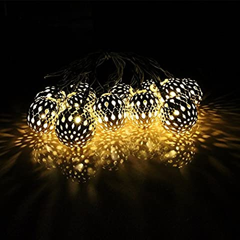 JOJOO 20 LED 16ft Solar Powered Metal Moroccan Ornament LED String Lights for Garden, Wedding, Party, Outdoor and Christmas, Warm white LT024