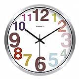 YingQinClan Reloj de pared moderno minimalista mesa ultra silenciosa color caramelo redondo digital...