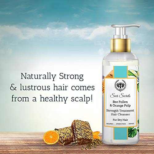 Seer Secrets Bee Pollen and Orange Pulp Strength Treatment Hair Cleanser Shampoo for Nourishing, Strengthening and Repairing Dry Hair, No Sulphate, Parabens and Silicon for Men and Women (200 ml)