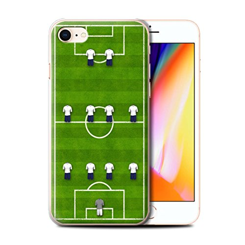 Stuff4 Hülle / Case für Apple iPhone 8 / 4-1-2-1-2/Blau Muster / Fußball Bildung Kollektion 4-4-2/Weiß