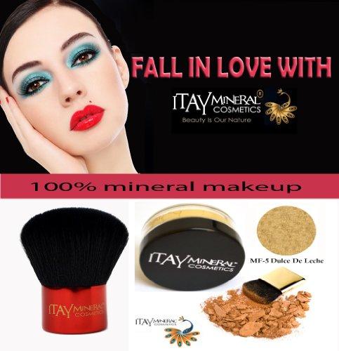 Fond de teint Itay Mineral Poudre Libre 2.5gr MF-5 - DULCE DE LECHE + Pinceau Kabuki Glossy de Itay