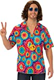 Mens Purple 1960s 1970s Groovy Hippy Hippie Festival Top & Peace Sign Necklace Fancy Dress Costume Outfit (Standard)