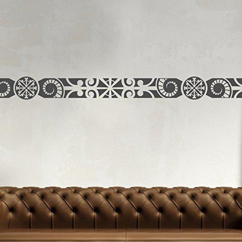 malango Afrikanische Bordüre Wandtattoo Aufkleber Wandaufkleber Dekoration Schlafzimmer Wohnzimmer Styling Design 18 x 131 cm mattschwarz