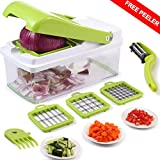 Vegetable Chopper,Mandoline Vegetable Fruit Dicer,Effortless No-Mess Salad Vegetable Cutter+Peeler Slicer (Freebies),3 Interchangeable Blades Set with Food Container,Cleaning Brush for Veggie Pasta