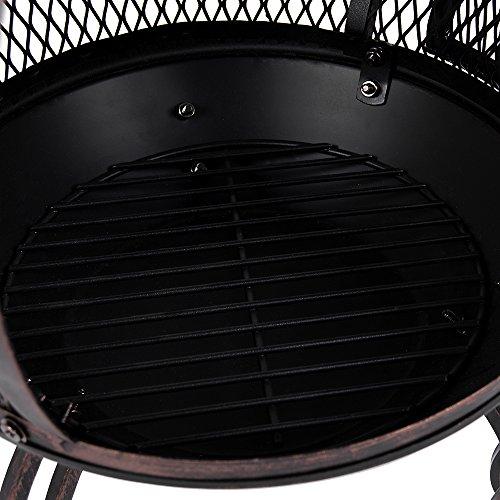 Home Discount® Steel Chiminea Outdoor Garden Patio Heater BBQ Cooking Grill Chimnea Chimenea, Black & Antique Gold