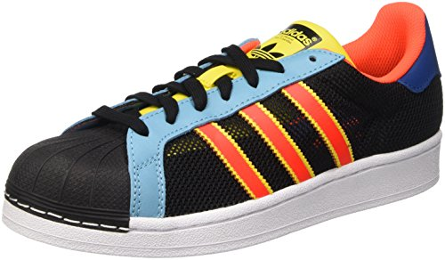adidas Herren Superstar Sneakers, Schwarz (Core Black/Yellow/Vapour Blue F16), 45 1/3 EU