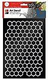 Marabu 0285000000003 - Art Stencil, Motivschablone für effektvolles Schablonieren auf Papier, Keilrahmen, Holz und Textilien, PVC - frei, lasergeschnitten, wiederverwendbar, DIN A4, Honeycomb
