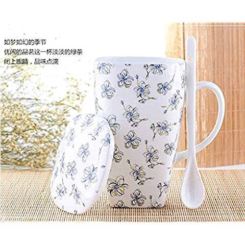 Hueso taza de agua de taza de cerámica con la máxima capacidad de la Oficina de la copa de tapa