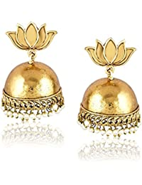 Meenaz Fashion Jewellery Gold Plated Pearl Crystal Jhumki Jhumka Earrings For Women Traditional Party Wear Stylish...