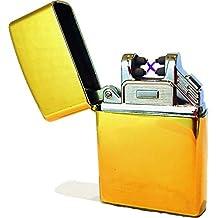 techstuph® Doble arco Mechero resistente al viento estilo clásico Retro batería USB sin llama insípido encendedor ignición varillas vela regalo bolsillo Moderno herramienta arrancador de fuego, Rich Gold