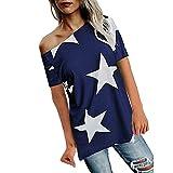 ESAILQ Frauen Mädchen Strapless Star Sweatshirt Langarm Crop Jumper Pullover Tops (XXL, Blau)
