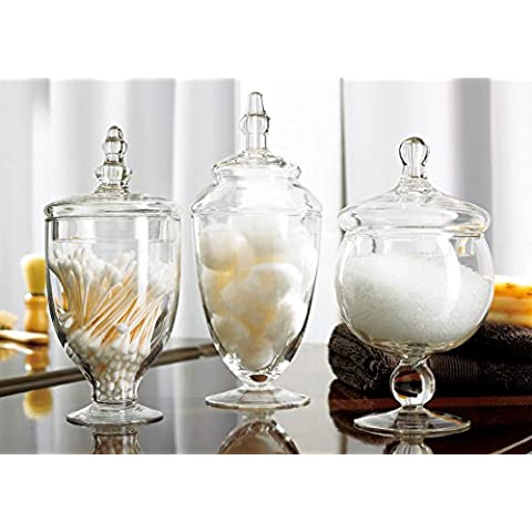 3 Piece Set Decorative Clear Glass Apothecary Jars / Wedding Centerpiece / Candy Storage Bottles - MyGift by