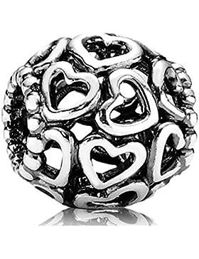 925 Sterlingsilber filigrane Perle Charme öffnen Sie Ihr Herz