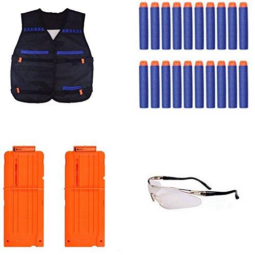 TILY Chaleco táctico para el equipo de la élite de N-Huelga de Nerf, kit del juguete que incluye 2 clips (12-dardos Quick Reload clip-naranja) + 20pcs dardos azules + vidrios protectores para la serie de la élite de la N-huelga