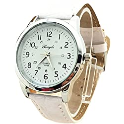 male Wrist Watch - Gerryda male Fashion digital Leather belt quartz Wrist Watch White