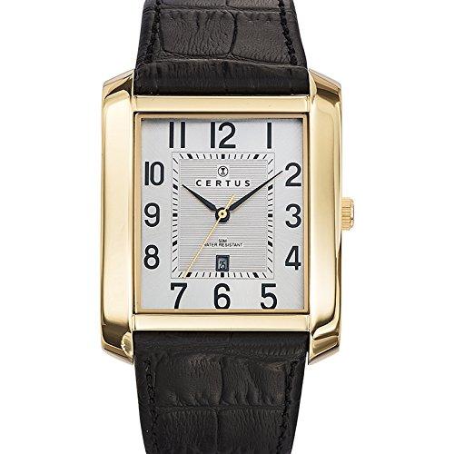 Certus  - Reloj de cuarzo para hombre, correa de cuero color negro
