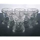 King International Stainless Steel Crystal Glass Desert Bowl With Hand Cut Design | Pudding Bowl Set Of 6