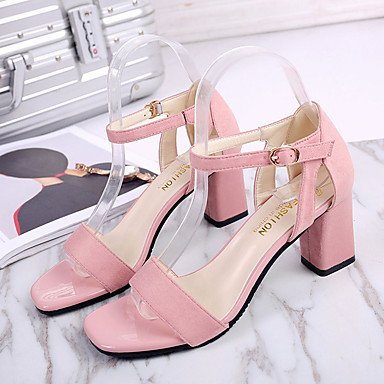 LvYuan Da donna Sandali Cashmere Estate Footing Più materiali Quadrato Nero Rosa 7,5 - 9,5 cm blushing pink