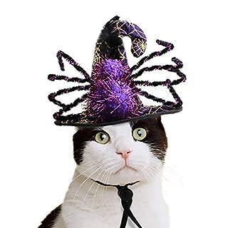 NICREW Pet Kostüm mit Einer Spinne Kostüm, Halloween Hut für Katzenhund, Haustier-Spinne-Kappe Halloween Witch Cap für Urlaubspartys, Maskerade Cap für Kätzchen und Welpen Weihnachten Geburtstag