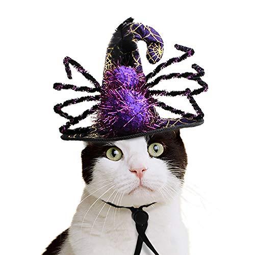 NICREW Gorro de Halloween para Gato Perro, Gorra de Araña de Mascota Gorra de Bruja de Halloween para Fiestas de Vacaciones Gorro de Mascarada para Gatito y Perrito Navidad Cumpleaños