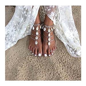 Orientalische Vintage Fußkette Anklet Zehenkette Zehenring Fußschmuck Knöchelkette Boho Style mit Münzen Muscheln in Silber-Optik von DesiDo®