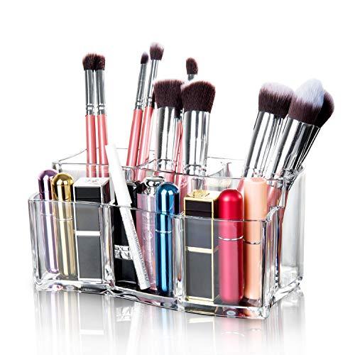 Scopri offerta per Maojuee Organizer per Cosmetici Organizzatore Trucco in Acrilico Porta Trucchi con 6 Scomparti Cosmetic Organizer Porta Pennelli Trucco Trasparente