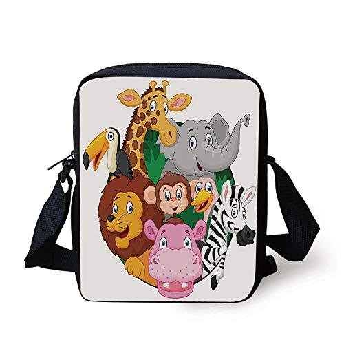 Cartoon Decor,Exotic Safari Animals All Together Comic Creature with Zebra and Elephant Friend Trek Sketch,Multi Print Kids Crossbody Messenger Bag Purse Trek Messenger