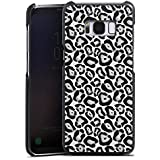 Samsung Galaxy S8 Lederhülle Leder Case Leder Handyhülle Tiere Graues Leo Fell Look Black and White
