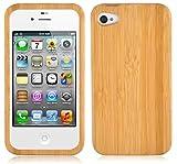 Cadorabo Hülle für Apple iPhone 4 / iPhone 4S - Hülle aus BAMBUS – Handyhülle aus 100% Echtholz - Case Cover Schutzhülle Hard Case