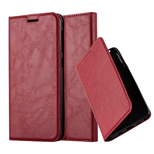 Cadorabo Hülle für HTC Desire 10 Lifestyle/Desire 825 - Hülle in Apfel ROT – Handyhülle mit Magnetverschluss, Standfunktion und Kartenfach - Case Cover Schutzhülle Etui Tasche Book Klapp Style