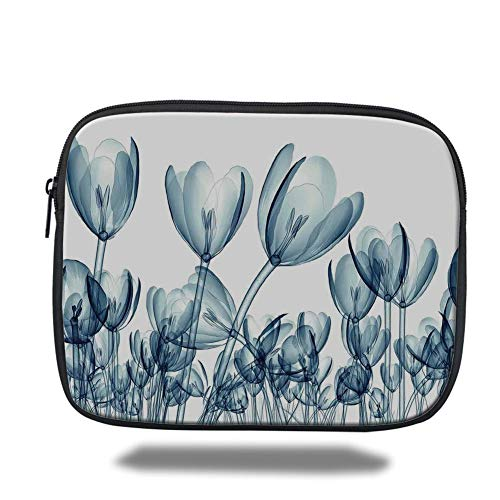 Tablet Bag for Ipad air 2/3/4/mini 9.7 inch,Xray Flower,Bunch of Different Size Flowers with X Rays Complex Structures of Mother Nature Art,Teal White,3D Print