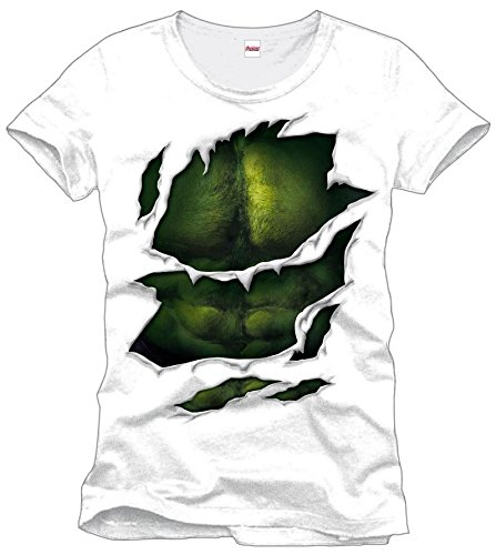 Marvel MEAVENMTS004 Hulk Suit Blanc T-Shirt, (Weiß), Medium (Taille Fabricant: M)