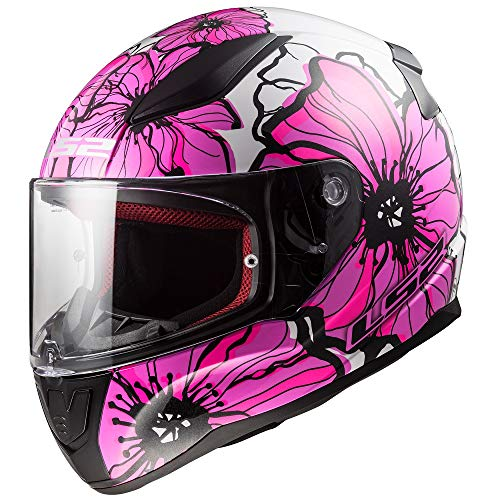 Casco de moto integral LS2 FF353 Rapid Poppies, rosa