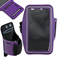 DURAGADGET Exclusive Unisex Sports Armband in Purple - Running, Cycling & Gym Smartphone Case - Compatible with BUSH Sim Free Bush Windows Mobile Phone / LG TRIBUTE / Micromax Canvas Duet / Microsoft Lumia 640