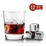 UTEN 12PCS Cubos de Hielo Whisky Acero Inoxidable Piedras Cubitos Enfriadores Reutilizables para Whiskey Vino y Cóctel el Regalo Perfecto para Nunca Diluir Bebidas