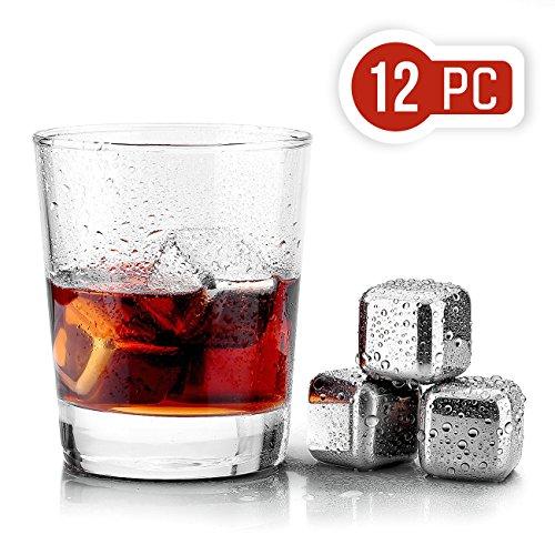Uten Whisky Steine Kühlsteine mit 12 Stück 304 Edelstahl Eiswürfeln, Whisky Stones...
