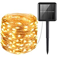 Criacr Led String Lights, (100 LED 2 Modes) Solar Garden Lights, 33ft/10m Copper Wire Solar String Lights, Auto on off, Waterproof for Patio, Garden, Home, Wedding, Pathway, Party (Warm White)