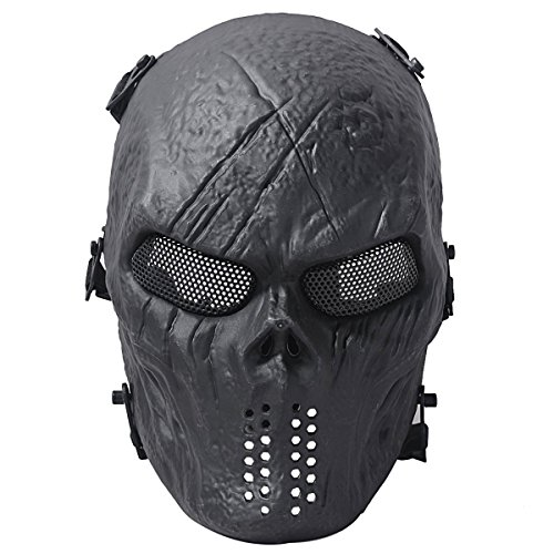 vinmax Neue Skull Totenkopf Skelett Army Airsoft Tactical Paintball Full Face Schutz (Full Black Maske Face)