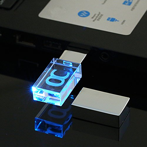 ONCHOICE USB Stick USB 2.0 Flash Drive  Transparent Wasserdichte Stoßfest 16GB USB-Flash-Laufwerk Mit LED Beleuchtung Aus Kristall In Mini Schlüssel Format Für Geschenk Blau