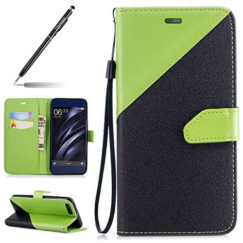 Uposao Handyhülle für Xiaomi Mi 6 Handytasche Retro Muster Klappbar Flip Case Cover Leder Tasche Brieftasche Book Lederhülle Leder Handy Schutzhülle Magnetverschluss,Schwarz Grün