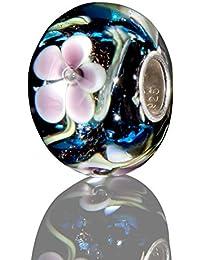 Andante-Stones - original, plata de ley 925 sólida, cuenta de cristal de la serie SEALIFE de color azul oscuro con flores rosa, elemento bola para cuentas European Beads + saco de organza
