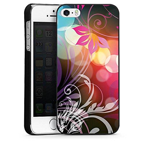 Apple iPhone 5s Housse étui coque protection Fleurs Fleurs couleurs CasDur noir