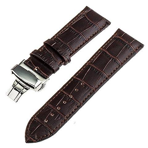 TRUMiRR 22mm en cuir véritable bracelet montre papillon Buckle Strap pour Samsung Gear 2 R380 Neo R381 R382 en direct, Moto 360 2 46mm, Pebble Time / Steel, Asus ZenWatch 1 2 Men, LG G Montre Urbane W150