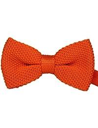 Double couche noeud papillon pré attaché tricoté Orange unie costume de fête, mariage