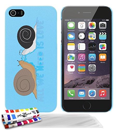 Ultraflache weiche Schutzhülle APPLE IPHONE 5S / IPHONE SE [Schnecken - love] [Lila] von MUZZANO + STIFT und MICROFASERTUCH MUZZANO® GRATIS - Das ULTIMATIVE, ELEGANTE UND LANGLEBIGE Schutz-Case für Ih Lagunenblau + 3 Displayschutzfolien
