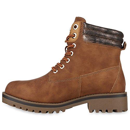 Stiefelparadies Warm Gefütterte Stiefeletten Damen Herren Unisex Worker Boots Outdoor Winterstiefel Schnürschuhe Wildleder-Optik Flandell Hellbraun Cabanas