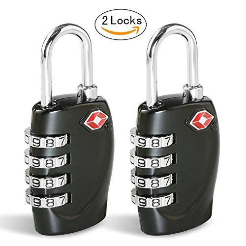TSA Luggage Locks, Combination Lock [2 Pack] CFMOUR 4-Dial Combination Security Padlocks for Travel Lock Suitcases Case Bag Code Lock - Black