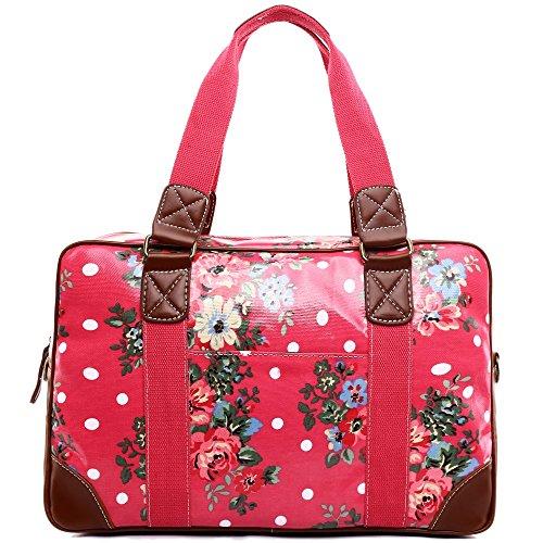 Miss Lulu Handtasche, Schultertasche, Damen, Eule, Schmetterling, Blumen, gepunktet, Wachstuch. Zum Reisen, über Nacht, Wochenende, Schultasche Gr. Large, Flower Plum (Plum-handtasche)