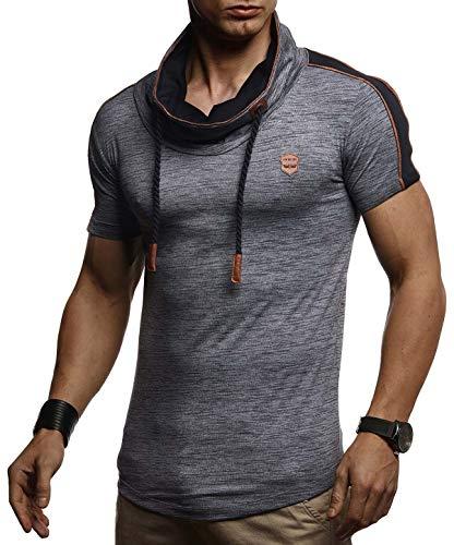 LEIF NELSON Herren Sommer T-Shirt Polo Kragen Slim Fit Baumwolle-Anteil   Basic Anthrazites Männer Poloshirts Longsleeve-Sweatshirt kurzarm   Weißes Shirt kurzarmshirts lang   LN4850 Anthrazit X-Large