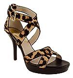 Michael Kors Evie Platform Heels Sandals Natural Leopard (7.0)